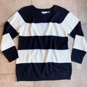 NEW Calvin Klein Black White Striped Sweater